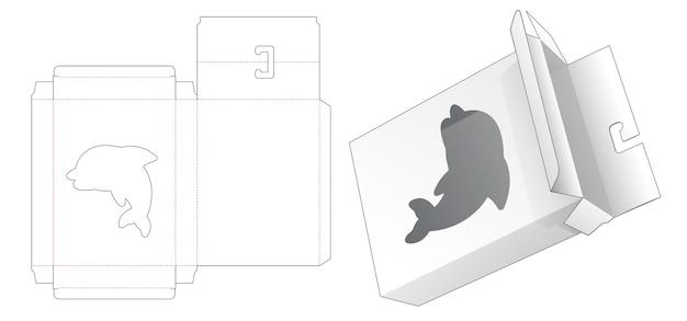 Boîte à suspendre avec fenêtre en forme de dessin animé de dauphin gabarit découpé