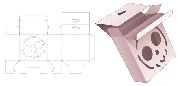 Boîte à suspendre avec gabarit de découpe de crâne au pochoir