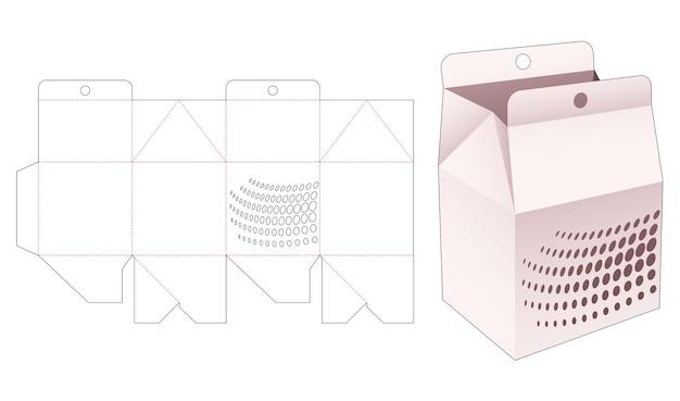 Boîte à suspendre avec gabarit de découpe de points de demi-teintes au pochoir