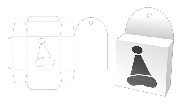 Boîte suspendue avec modèle de découpe de fenêtre de chapeau de noël