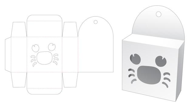 Boîte suspendue avec modèle de découpe de fenêtre en forme de dessin animé de crabe