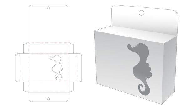 Boîte suspendue rectangulaire avec fenêtre en forme de dessin animé hippocampe gabarit découpé