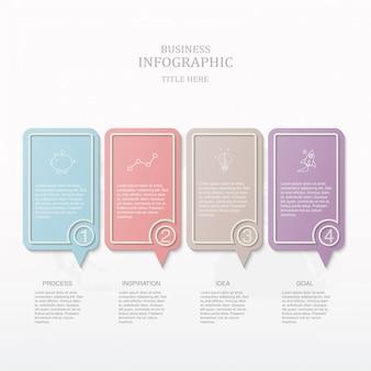 Boîte de texte coloré infographique.
