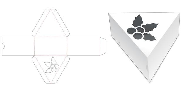 Boîte triangulaire en carton avec gabarit de découpe de houx au pochoir