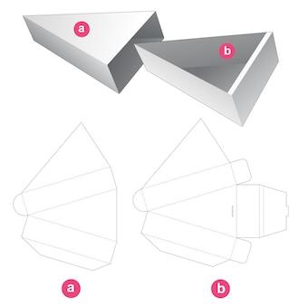 Boîte triangulaire coulissante en carton avec couvercle gabarit découpé