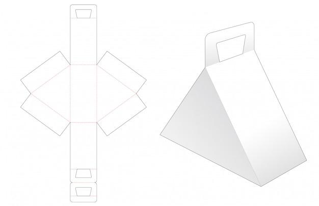 Boîte triangulaire avec poignée modèle découpé