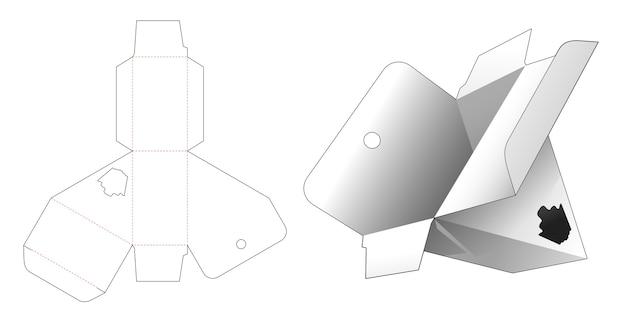 Boîte triangulaire suspendue en carton avec gabarit de découpe de fenêtre