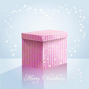 Boîte de vecteur rose sur fond bleu clair