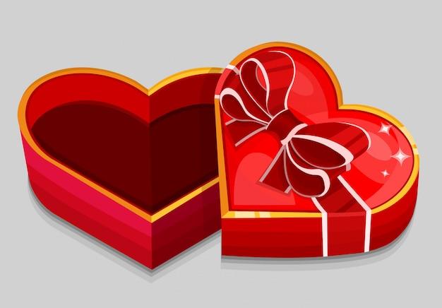 Boîte vide en forme de coeur rouge