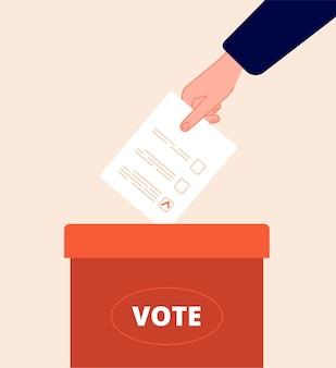 Boîte de vote. jour de vote, emballage électoral. main tient le bulletin de vote