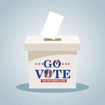 Boîte de vote avec liste de contrôle. bannière des états-unis d'élection présidentielle 2020. allez voter. illustration patriotique