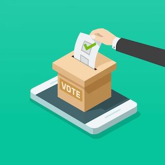 Boîte de vote avec la main de l'électeur en ligne sur téléphone mobile plat isométrique