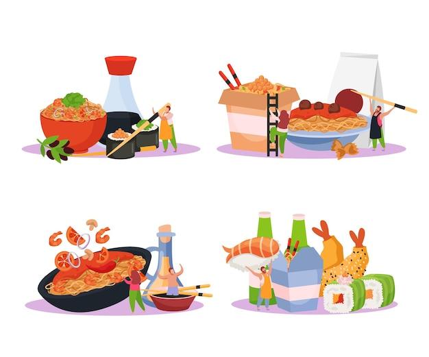 Boîte de wok plat 4x1 ensemble de compositions isolées avec illustration de nouilles et sauces de sushi de restauration rapide japonaise