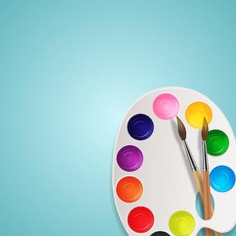 Boîtes 3d réalistes avec pinceau et palette