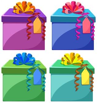 Boîtes actuelles en différentes couleurs
