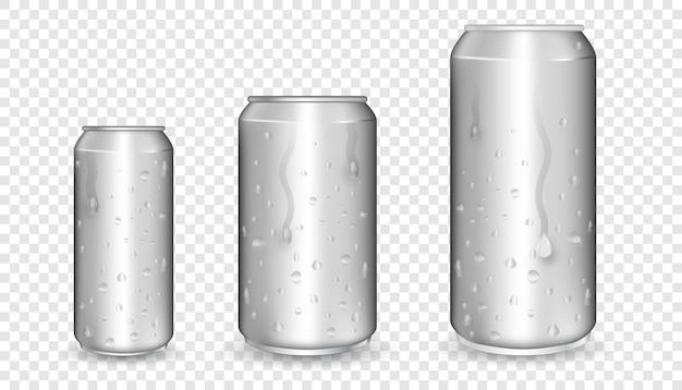 Boîtes en aluminium réalistes. boîtes métalliques. maquette vierge de canettes en aluminium.