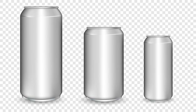 Boîtes en aluminium réalistes.