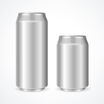 Boîtes en aluminium vides de 500 et 330 ml.