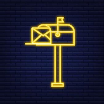 Boites aux lettres. enveloppe avec un concept de newsletter. style néon. illustration vectorielle.