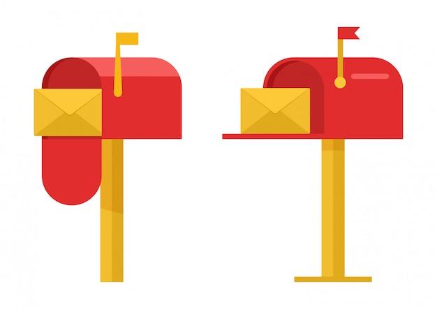 Boîtes aux lettres rouges avec enveloppes jaunes. illustration
