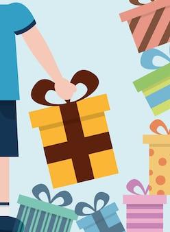 Boîtes de cadeau joyeux célébration enveloppé main décorative tenant illustration vectorielle cadeau