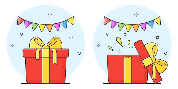 Boîtes cadeaux. coffret ouvert, concept surprise. surprise dans la boite. illustration.