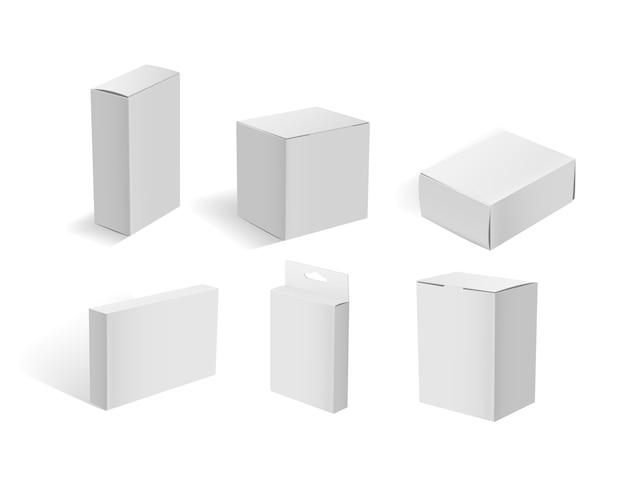 Boîtes en carton blanc. conteneur d'emballage blanc vierge