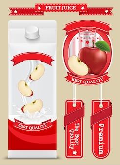 Boîtes de carton blanc vierge de jus de lait avec pomme. illustration vectorielle