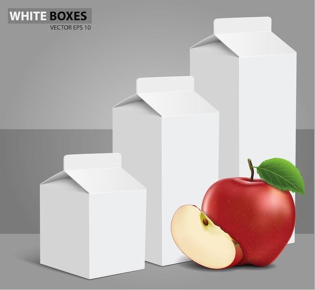 Boîtes de carton blanc vierge de jus de lait avec pomme