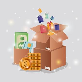 Boîtes en carton avec des icônes de commerce électronique