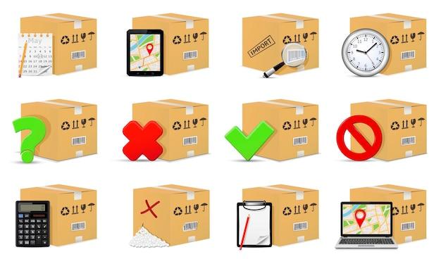 Boîtes en carton de livraison avec des objets et des signes de manutention et d'emballage
