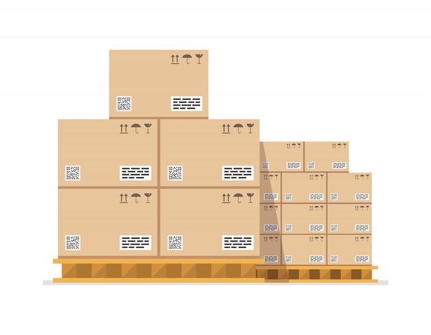 Boîtes en carton sur palette boisée