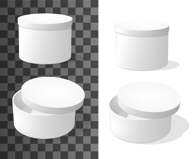 Boîtes en carton rondes, emballage maquette vectorielle 3d