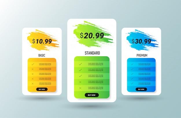 Boîtes de comparaison des tableaux de prix créatifs.