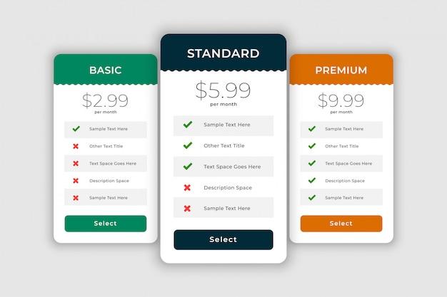 Boîtes de comparaison web pour les plans et les prix