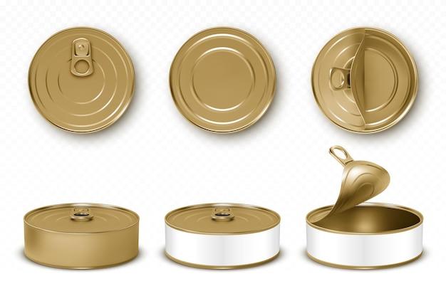 Boîtes de conserve dorées dans différentes vues