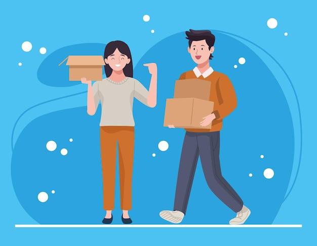 Boîtes de déballage de couple