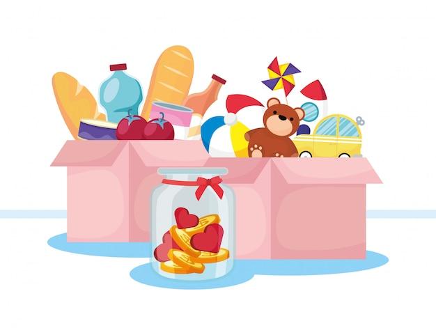 Boîtes de dons de charité avec épicerie et jouets