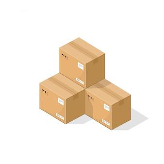 Boîtes d'emballage en carton ou illustration de pièces d'entrepôt isométrique