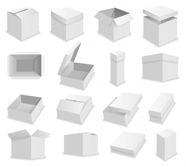 Boîtes d'emballage ouvertes réalistes de vecteur blanc