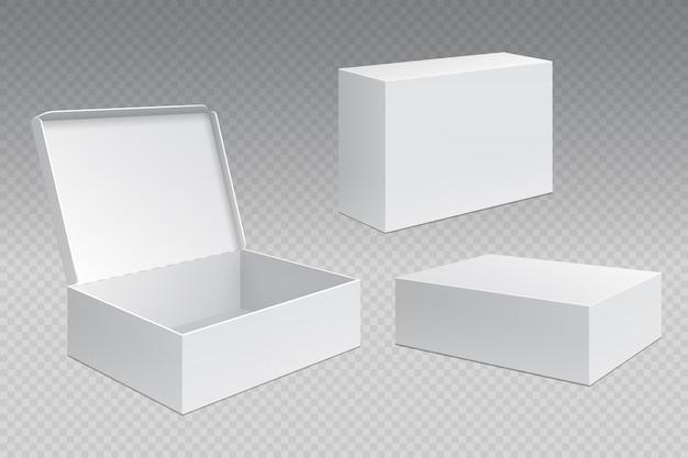 Boîtes d'emballage réalistes. pack de carton blanc ouvert, produits de merchandising vierges. modèle de conteneur carré en carton
