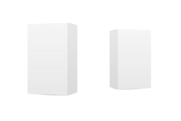 Boîtes sur fond blanc