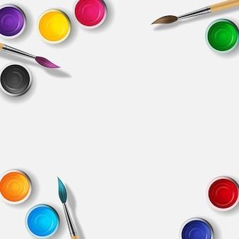 Boîtes avec gouache, collection de peinture acrylique aux couleurs arc-en-ciel avec pinceau en bois 3d réaliste.