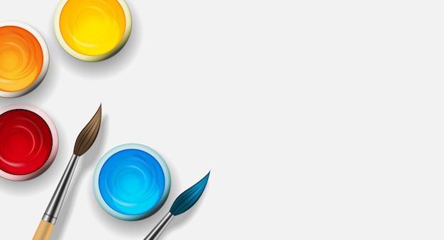 Boîtes avec gouache, collection de peinture acrylique sertie de pinceau en bois 3d réaliste.