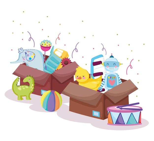 Boîtes à jouets pleines pour les enfants