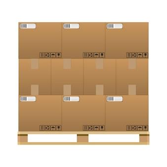 Boîtes de livraison en carton brun fermées