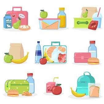 Boîtes à lunch scolaires avec jeu d'icônes plat collations