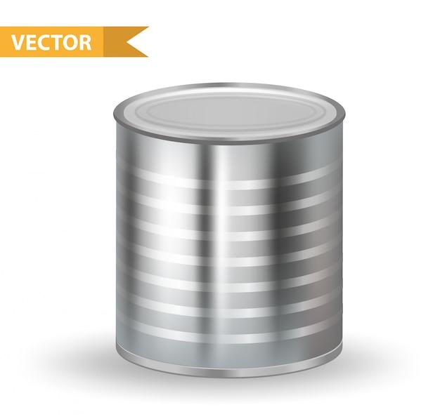 Boîtes métalliques métalliques réalistes. conteneurs de boîtes. sur fond blanc. pour l'emballage de vos produits en conserve. illustration.