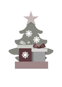 Boîtes de noël avec des cadeaux sur le fond d'un arbre de noël avec une étoile et des flocons de neige