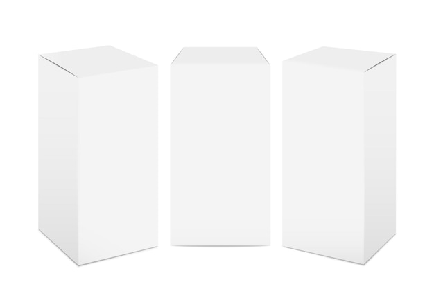 Boîtes en papier. maquette d'emballage en carton blanc, médecine rectangulaire 3d réaliste et paquet de nourriture